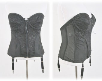 bb62097e09b Vintage Fredrick s of Hollywood Black Bustier Corset with Garters Volup  Size 40C