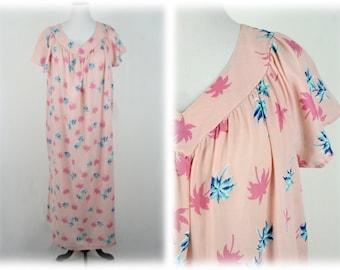 fb4d7e91bb5 Vintage Muu Muu Dress Pink Palm Trees Dress