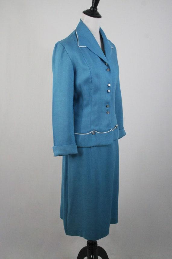 1950s Suit Blue Linen Skirt Suit - image 5