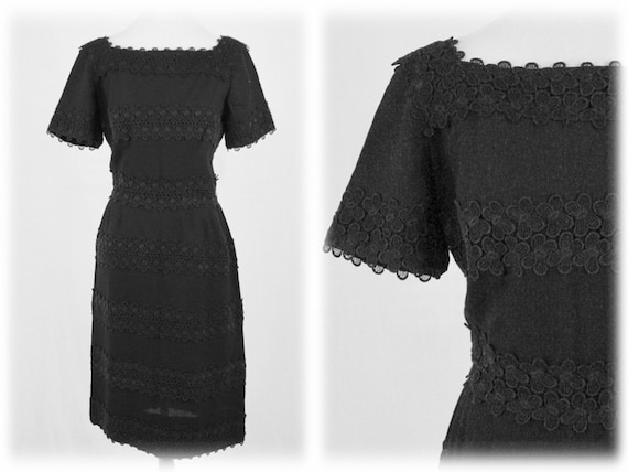 1950s Dress Butterfly Lace Trim by  L'Aiglon Wiggl