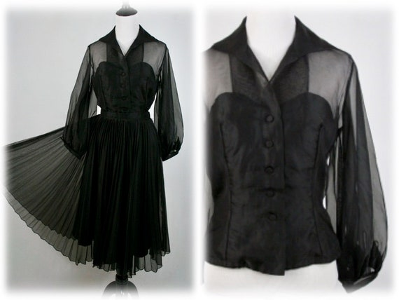 1950s Blouse and Skirt Set Black Illusion Blouse P