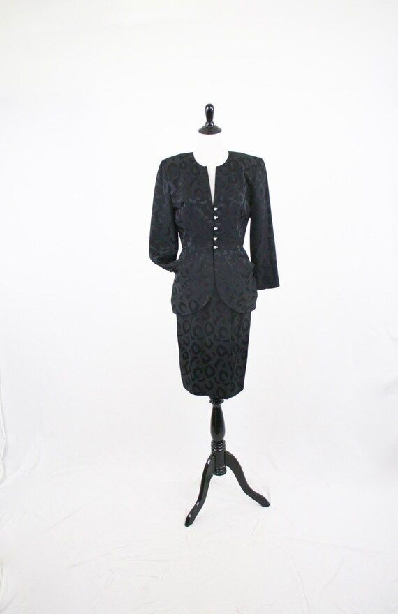 1980s Black Silk Leopard Print Skirt Suit by A.J. Bari Lord & Taylor Size 6