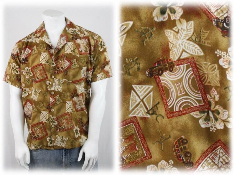 e4a246f3 Vintage Woody Station Wagon Aloha Shirt by ten2one Hawaiian   Etsy