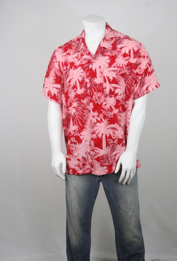 Vintage Aloha Shirt Red Rayon Shirt XL - image 3