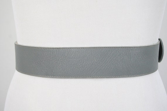 1980s Fiorucci Belt Gray Leather Wide Belt - image 5