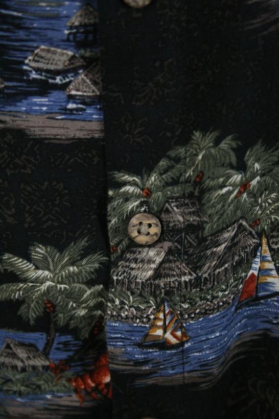Vintage Aloha Shirt Rayon Batik Bay Shirt 3X - image 4