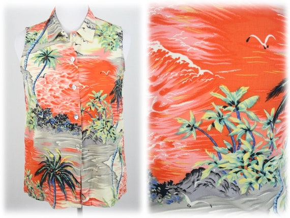 Vintage Aloha Blouse Clio Rayon Shirt Petite Large - image 1