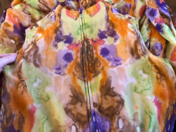 1970s Jumpsuit Silk Chiffon Palazzo Pants Waterco… - image 10