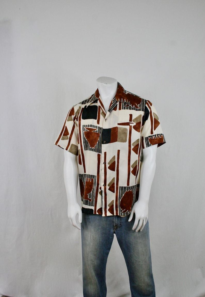 c8a5d7e5 1970s Malihihi Groovy Polyester Hawaiian Shirt Size Large   Etsy