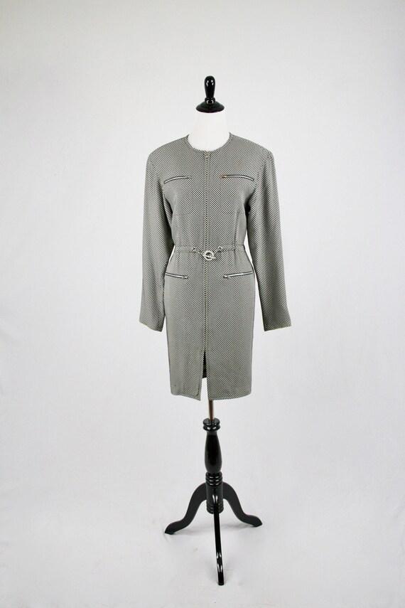 1980s Emanuel Ungaro Zippered Checkerboard Dress