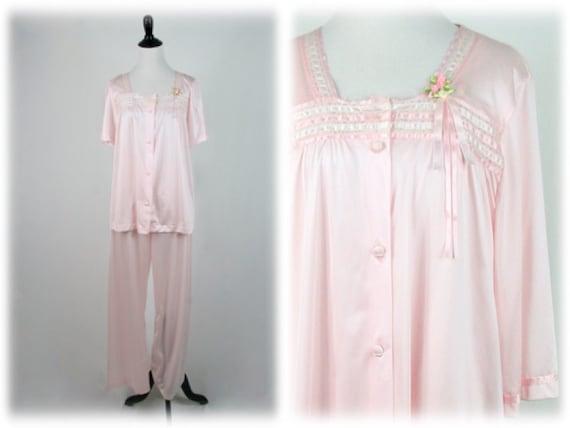 Vintage Pajamas and Robe Set Light Pink Henson Kic