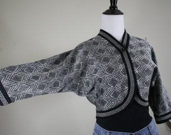 1950s Metallic Silver and Black Bolero Sweater