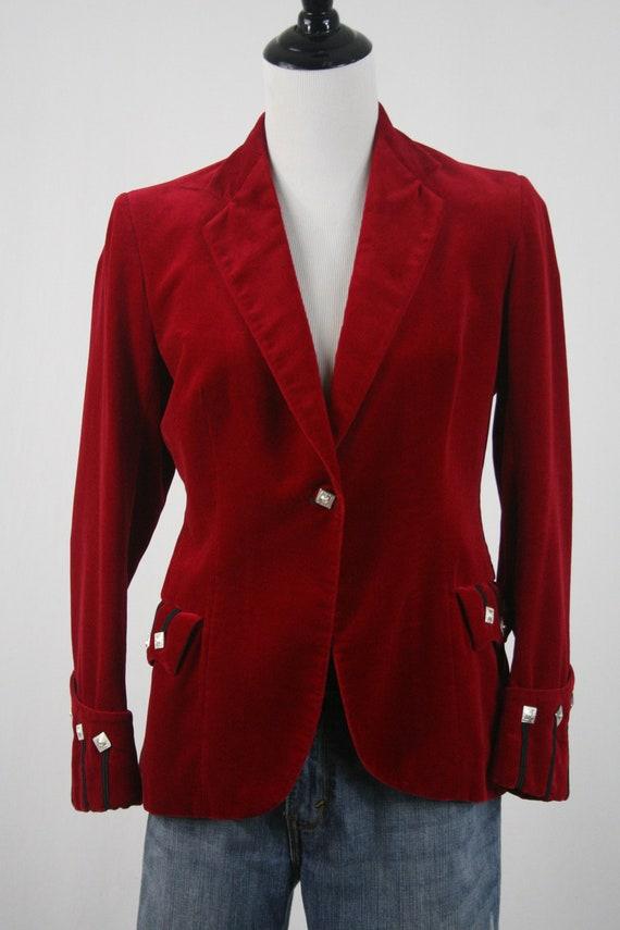 Vintage Blazer Red Velvet Sgt Pepper's Jacket - image 3