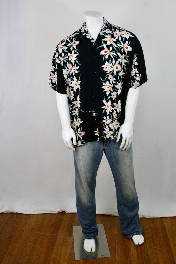 Vintage Aloha Shirt Rayon Orchid Print Shirt - image 2