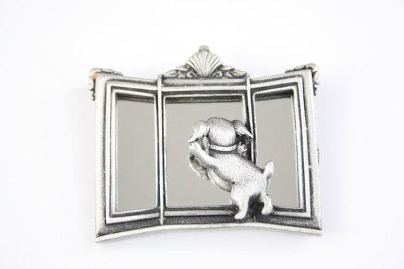 Vintage Brooch JJ Jonette Puppy in Mirror Novelty… - image 1