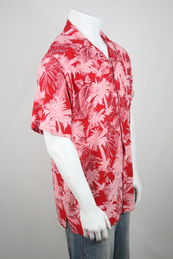 Vintage Aloha Shirt Red Rayon Shirt XL - image 5
