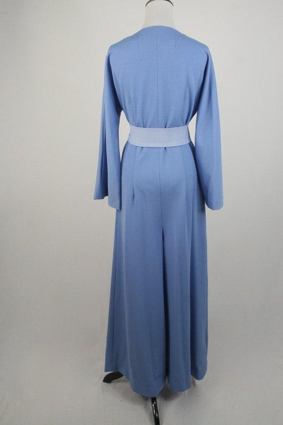 1970s Jumpsuit Blue Polyester Handmade Wide Leg J… - image 6
