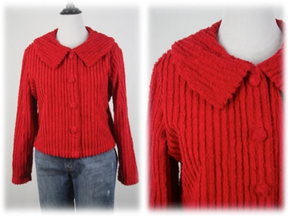 Vintage Chenille Jacket Red Cotton Cropped Jacket