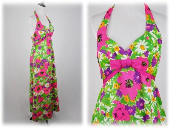 1970s Hawaiian Halter Dress by Princess Kaiulani M