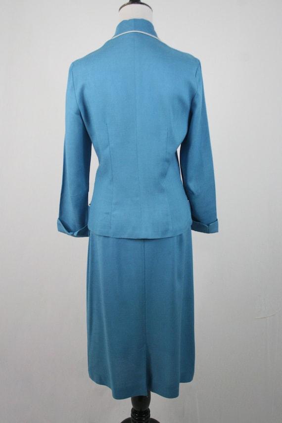 1950s Suit Blue Linen Skirt Suit - image 6