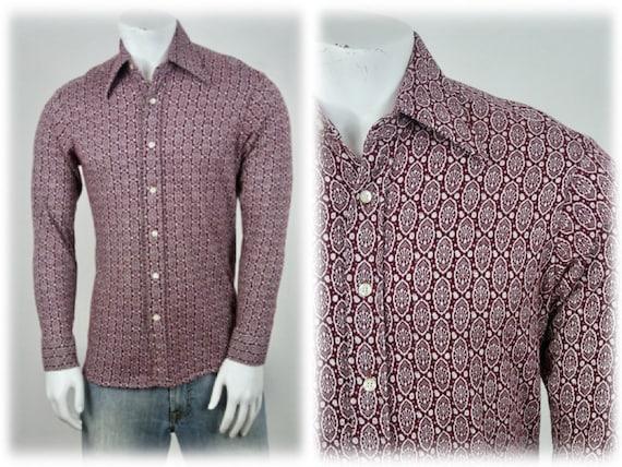 1970s Shirt Dagger Collar Knit Shirt Large