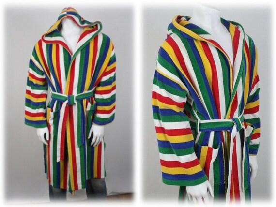1970s Men's Robe Rainbow Striped Hooded Terry Clot