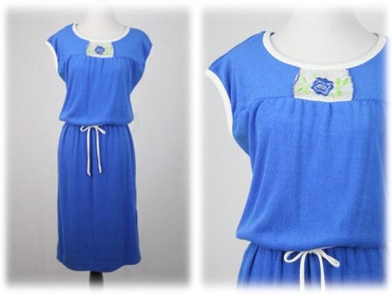1970s Dress Blue Terry Cloth Dress