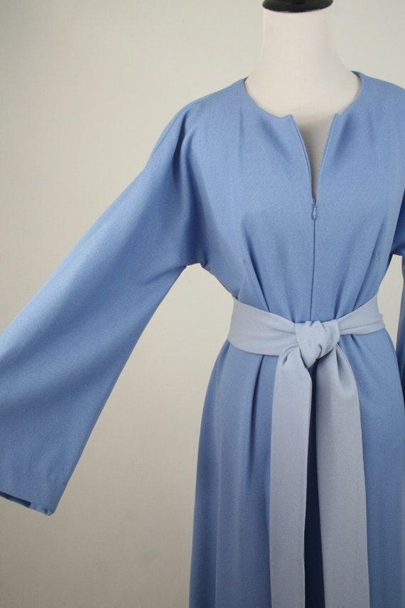 1970s Jumpsuit Blue Polyester Handmade Wide Leg J… - image 4