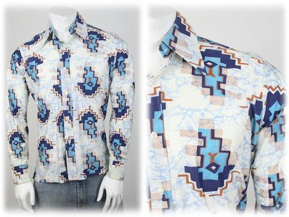 1970s Men's Shirt Dagger Collar Venezia Shirt Medi