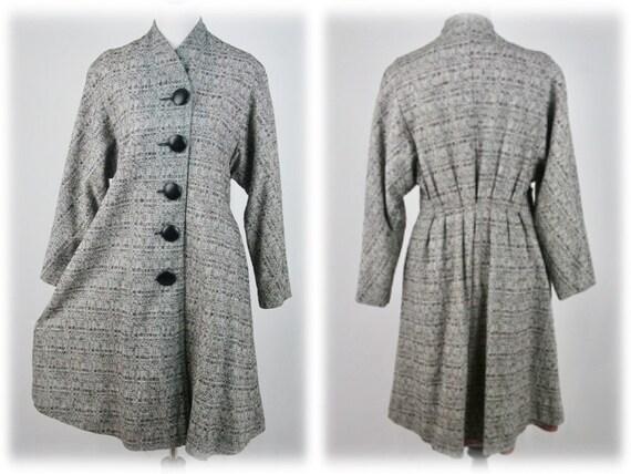 1950s Princess Coat Lightweight Rayon Large Button