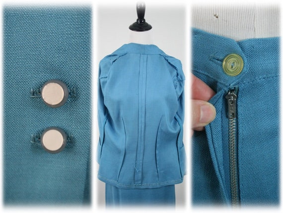 1950s Suit Blue Linen Skirt Suit - image 10