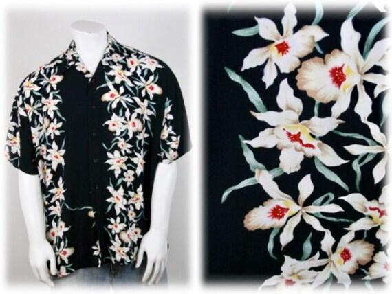 Vintage Aloha Shirt Rayon Orchid Print Shirt - image 1