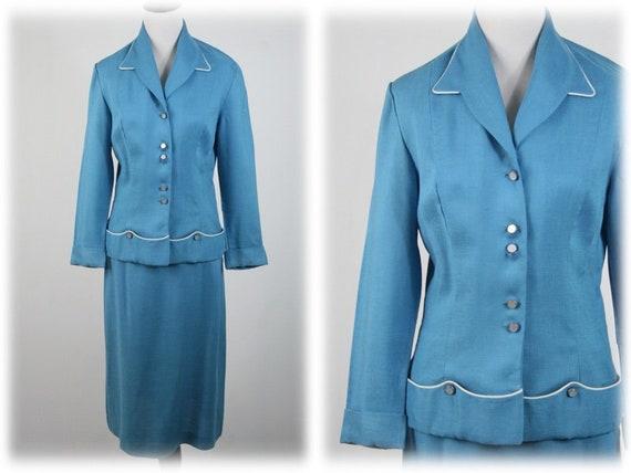 1950s Suit Blue Linen Skirt Suit - image 1