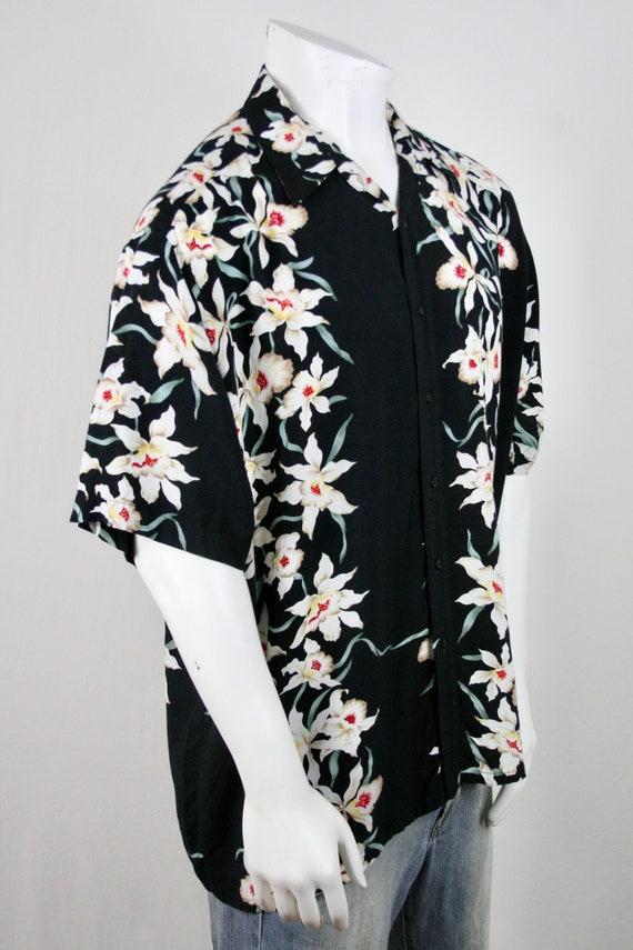 Vintage Aloha Shirt Rayon Orchid Print Shirt - image 5