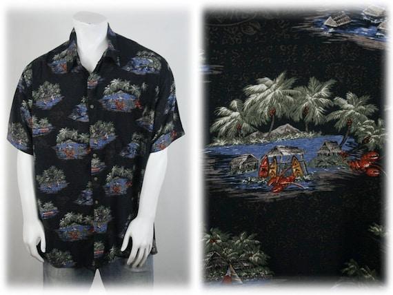 Vintage Aloha Shirt Rayon Batik Bay Shirt 3X - image 1