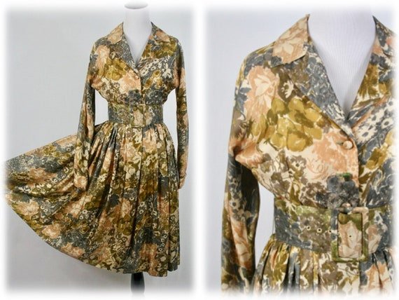 1950s Dress Silk Fit and Flare Wide Belt Mr. Mort