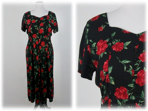 1990s Dress Red Roses Rayon Erika Collection Dress