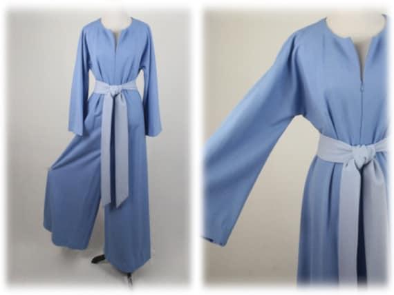 1970s Jumpsuit Blue Polyester Handmade Wide Leg J… - image 1