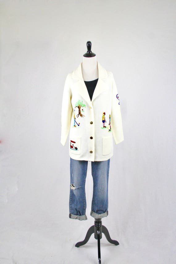 b82ec2e8b9f8 1960s Golf Embroidered Acrylic Cardigan Sweater by Andreno