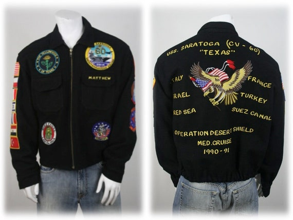 1990s Military Jacket Wool Desert Shield Patches B