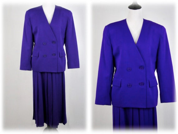 1980s Christian Dior Skirt Suit Purple Wool Pleate