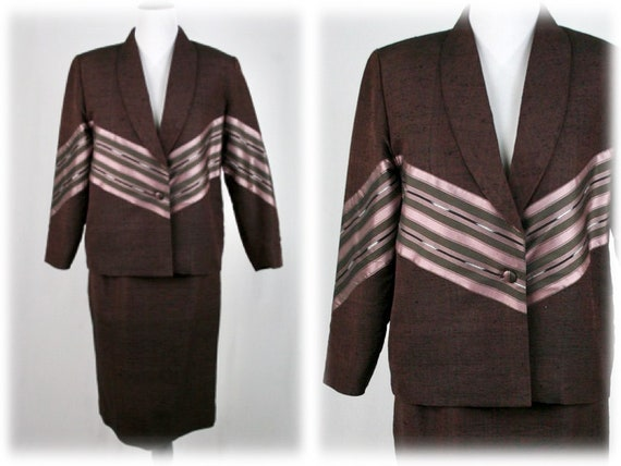 Vintage Thai Silk Skirt Suit Volup Vintage Brown S