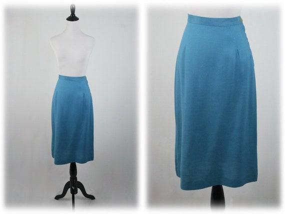 1950s Suit Blue Linen Skirt Suit - image 8