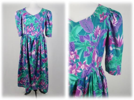 1980s Dress Cotton Tropical Print Handmade Dress V
