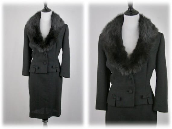 1950s Lilli Ann Suit Fox Collar Black Wool Skirt S