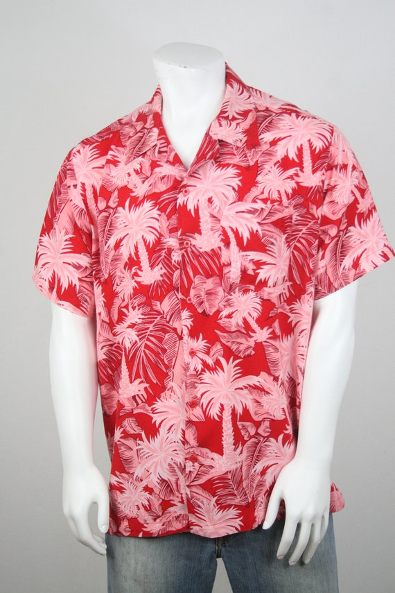 Vintage Aloha Shirt Red Rayon Shirt XL - image 4