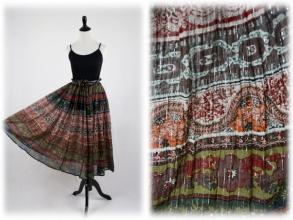 e57a96b9c734f 1970s Sheer Cotton Lurex Thread India Cotton Boho Skirt by