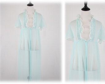 Vintage Sheer Nylon Chiffon Robe Small
