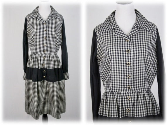 1950s Dress Black White Gingham Shirtwaist Dress