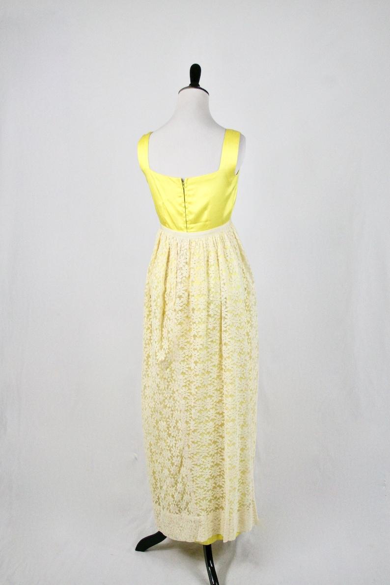 5e7966534e 1960s Bright Yellow Sunflower Lace Long Prom Dress
